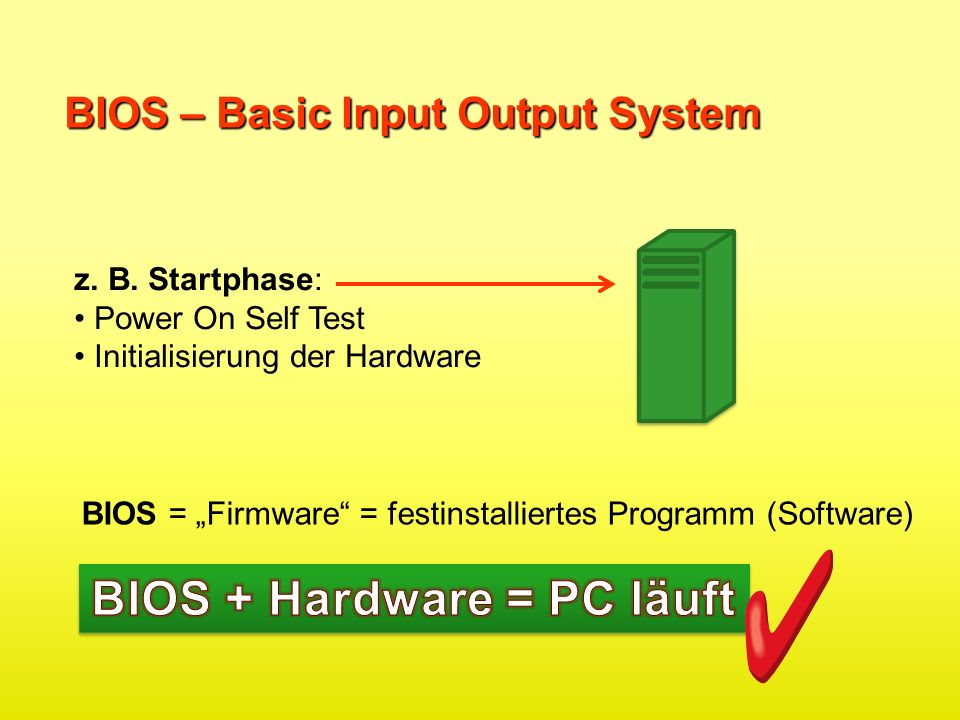 BIOS + Hardware = PC läuft