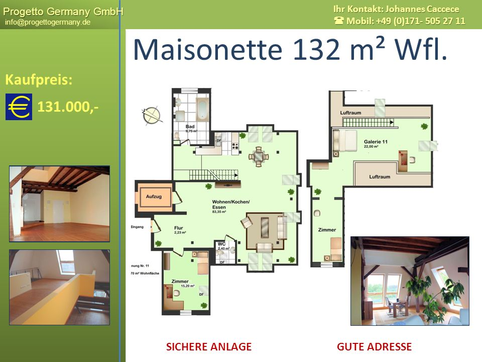 Maisonette 132 m² Wfl. Kaufpreis: 131.000,- Messestadt LEIPZIG