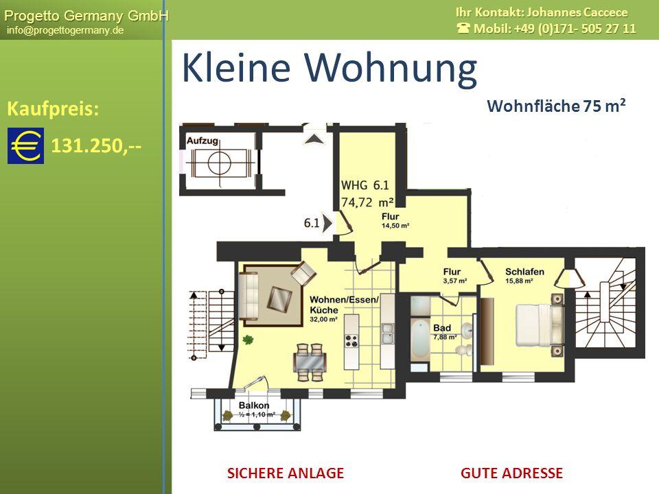 Kleine Wohnung Kaufpreis: 131.250,-- Wohnfläche 75 m² Wohnfläche 75 m²