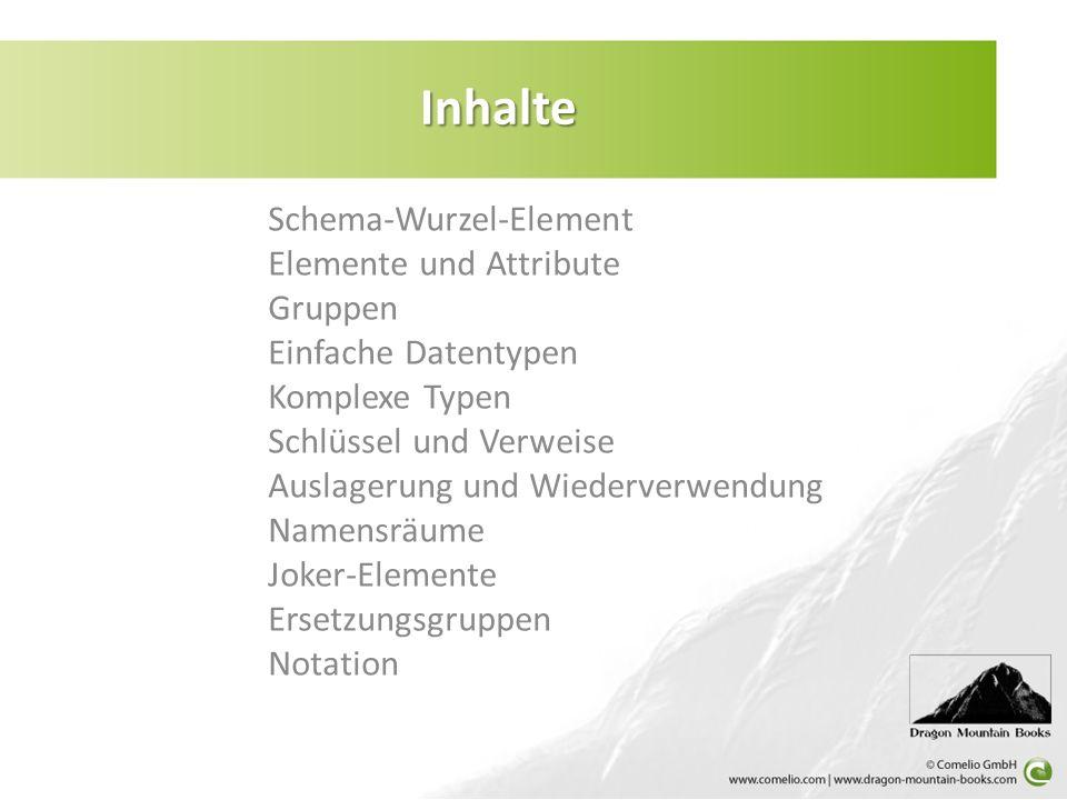 Inhalte Schema-Wurzel-Element Elemente und Attribute Gruppen