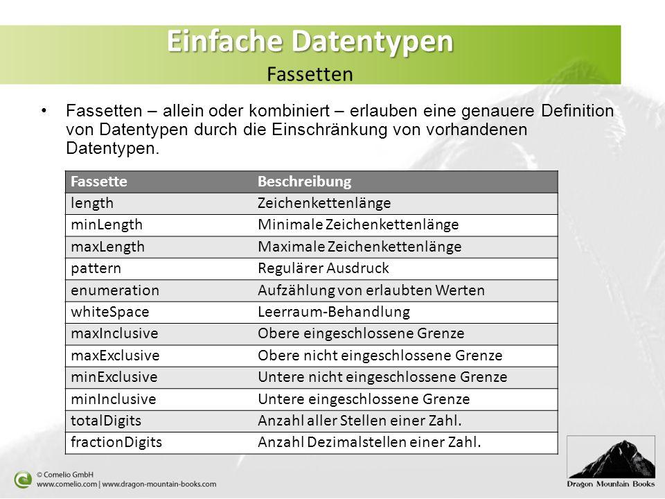 Einfache Datentypen Fassetten