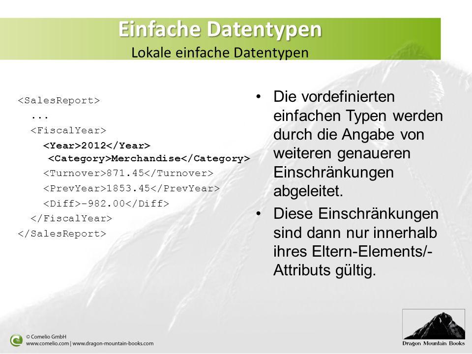 Einfache Datentypen Lokale einfache Datentypen