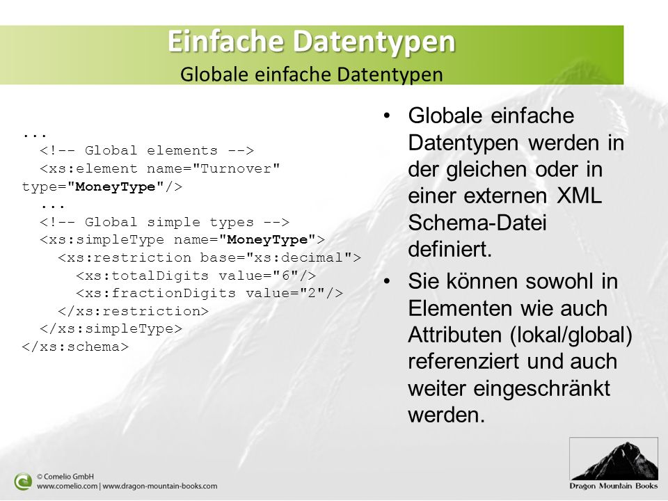 Einfache Datentypen Globale einfache Datentypen