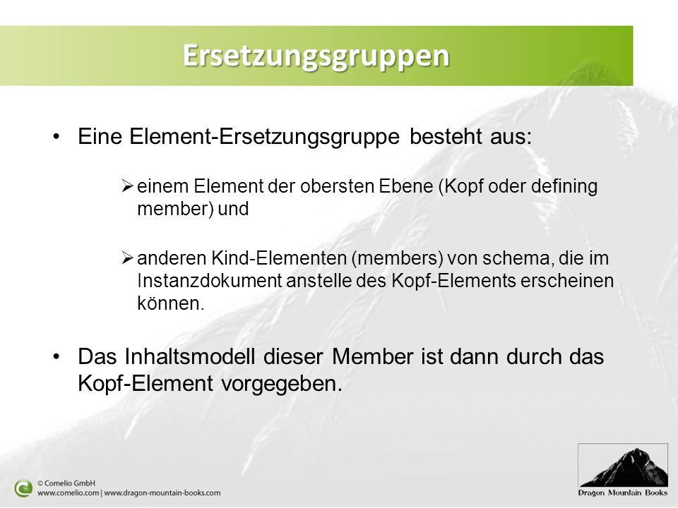 Ersetzungsgruppen Eine Element-Ersetzungsgruppe besteht aus: