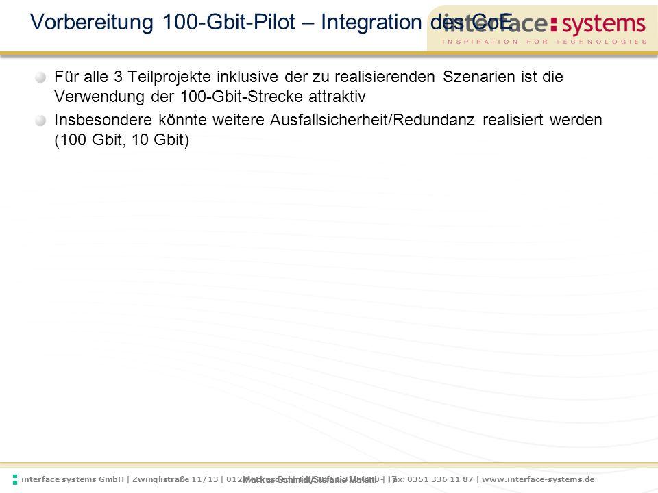 Vorbereitung 100-Gbit-Pilot – Integration des CoE