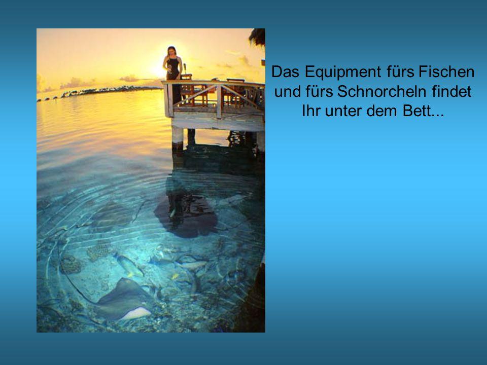 Das Equipment fürs Fischen und fürs Schnorcheln findet