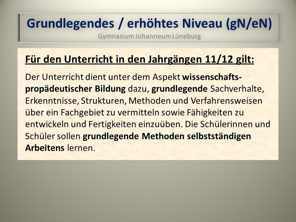 Grundlegendes / erhöhtes Niveau (gN/eN)