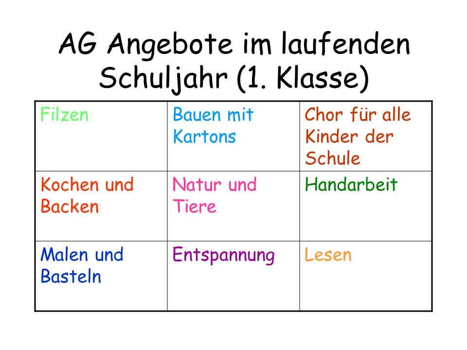 AG Angebote im laufenden Schuljahr (1. Klasse)