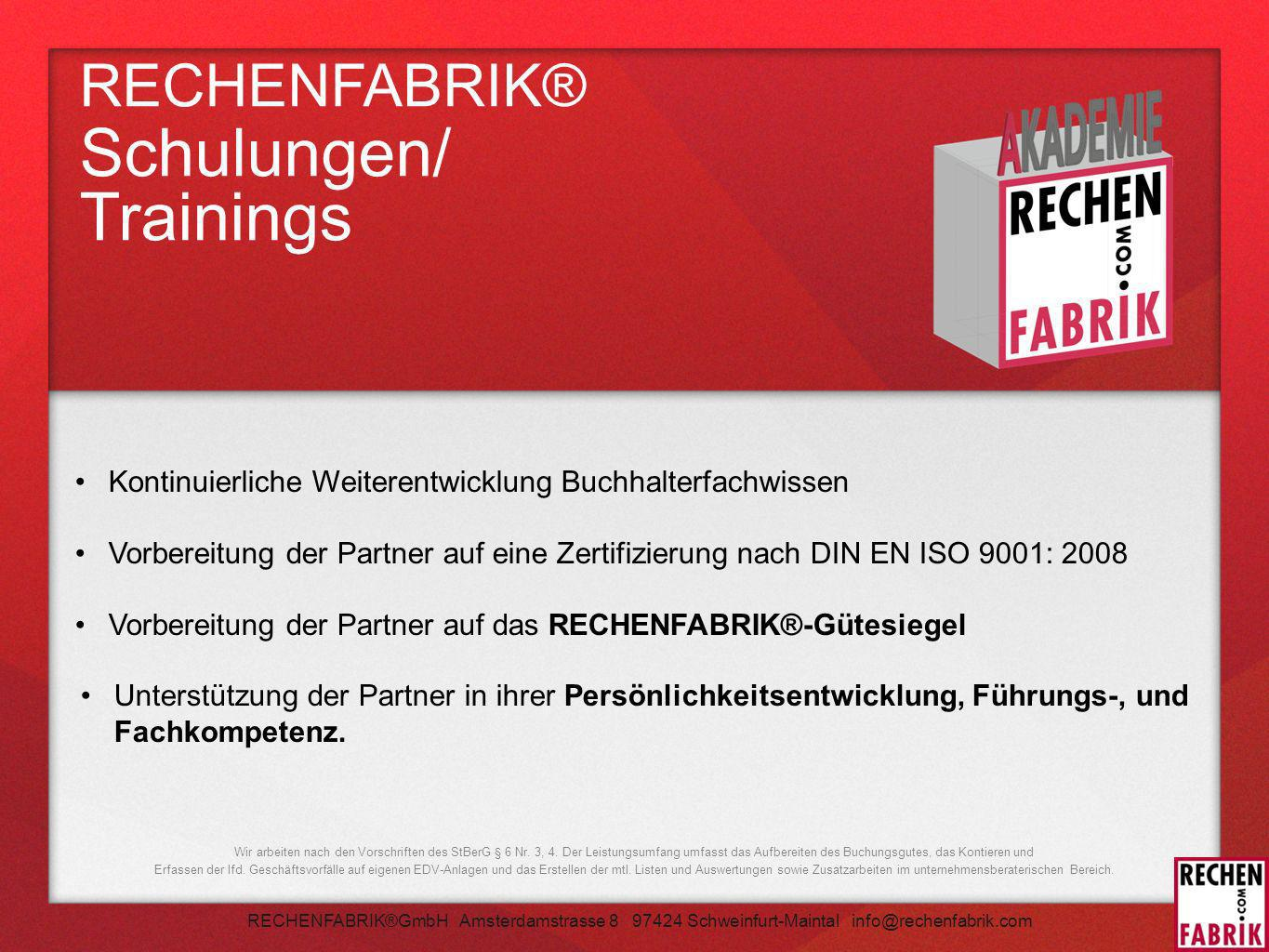 RECHENFABRIK® Schulungen/ Trainings