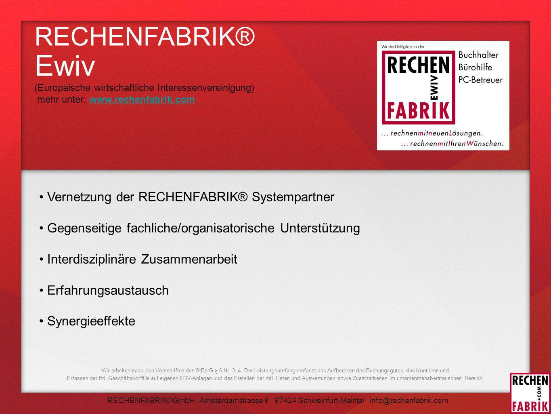 RECHENFABRIK® Ewiv Vernetzung der RECHENFABRIK® Systempartner