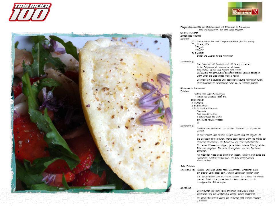 Ziegenkäse-Soufflé auf Kräuter-Salat mit Pflaumen in Balsamico