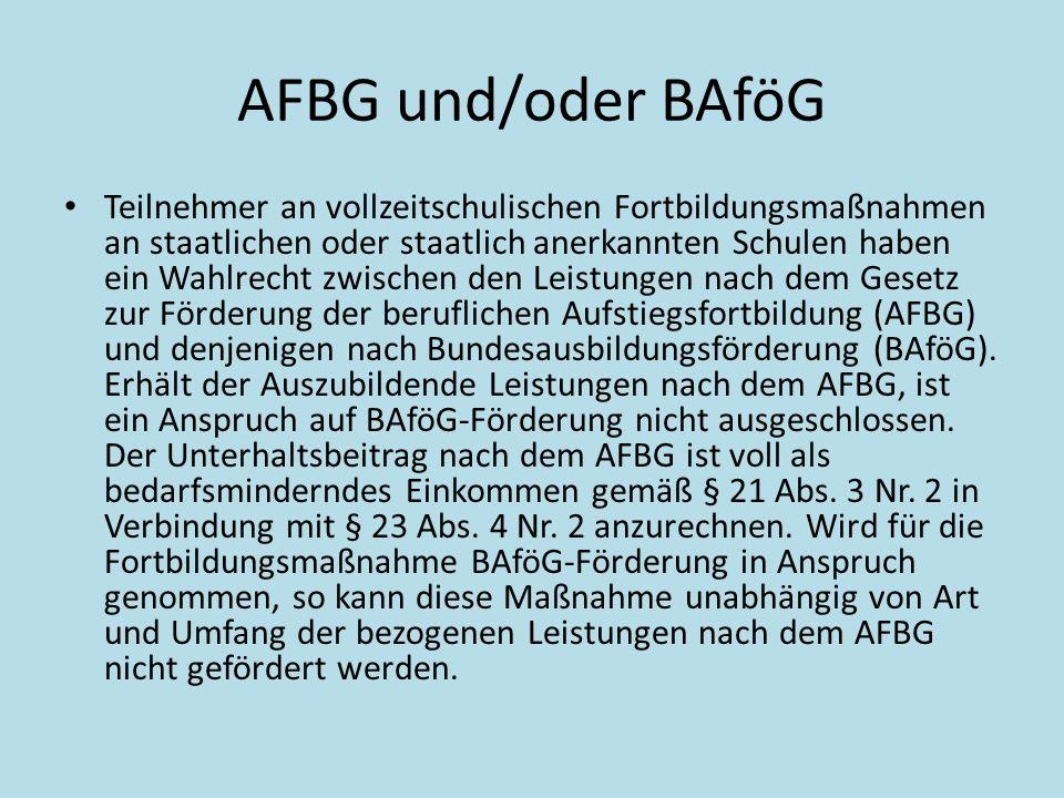 AFBG und/oder BAföG