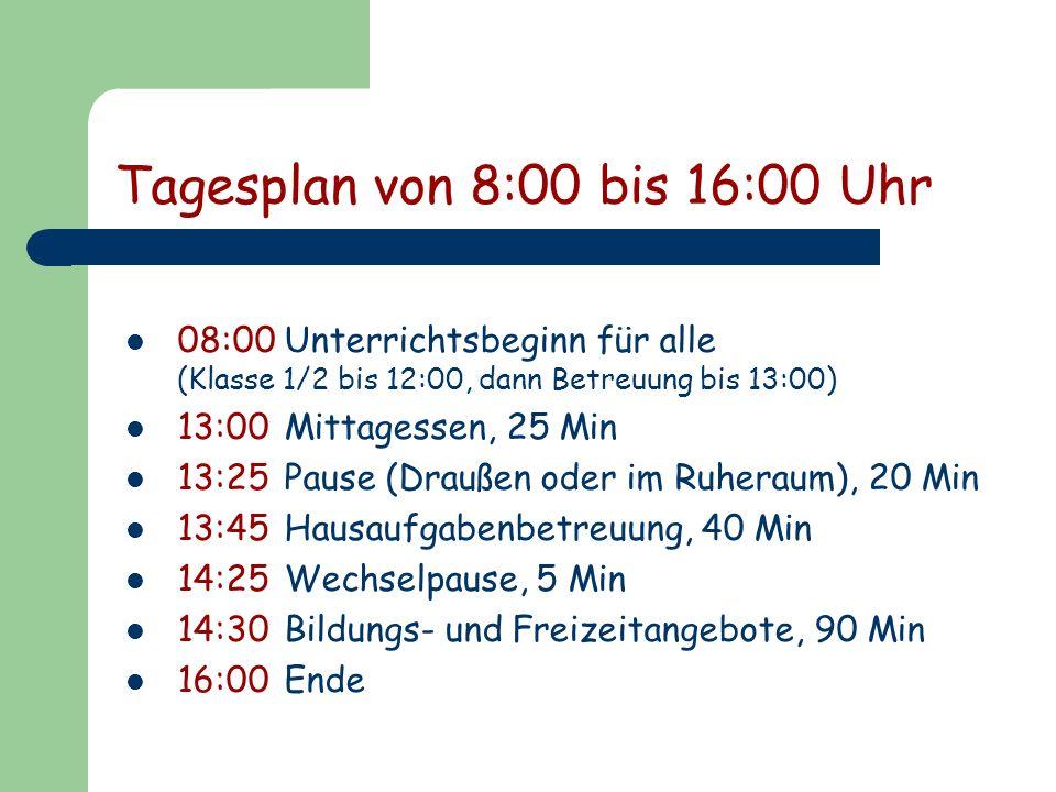 Tagesplan von 8:00 bis 16:00 Uhr