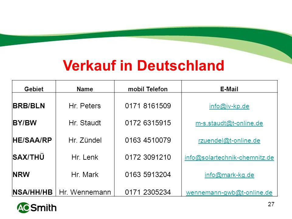Verkauf in Deutschland