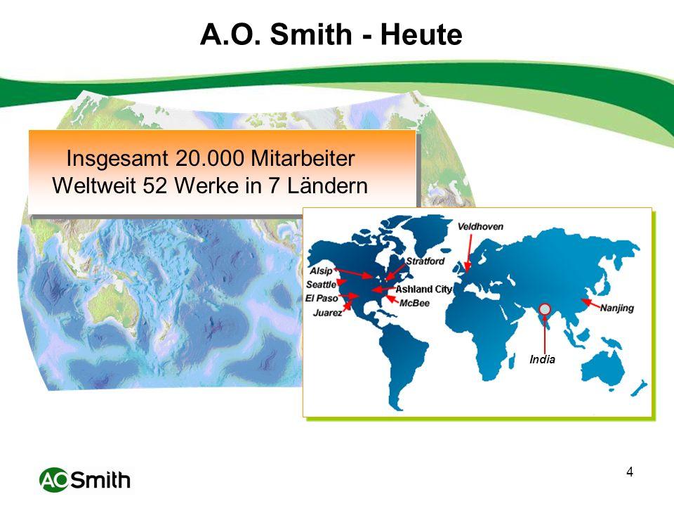 A.O. Smith - Heute Insgesamt 20.000 Mitarbeiter