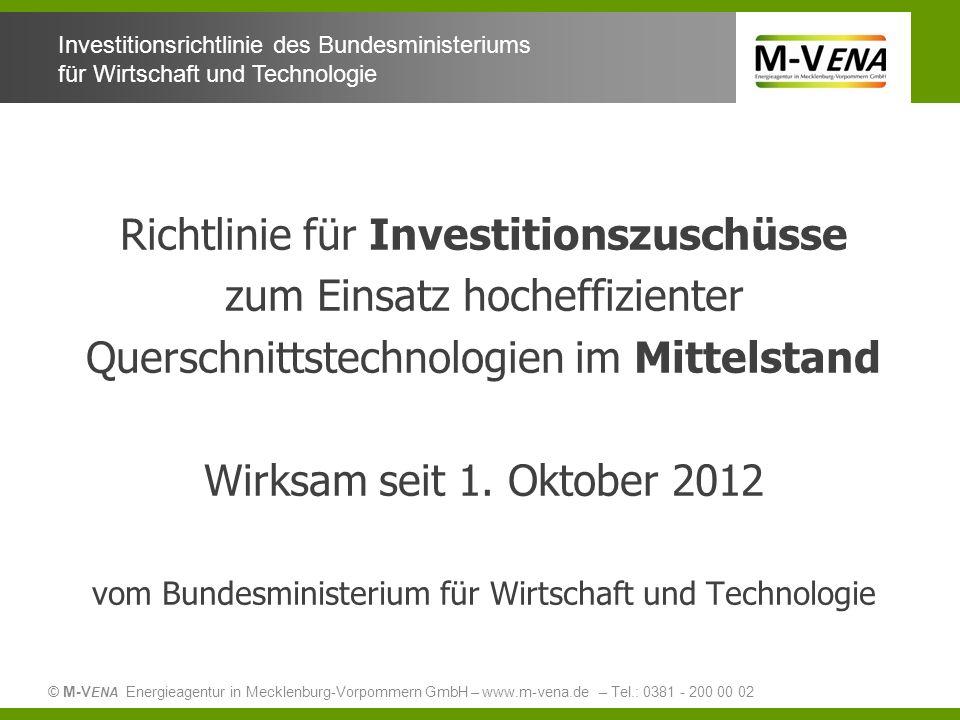 Richtlinie für Investitionszuschüsse zum Einsatz hocheffizienter