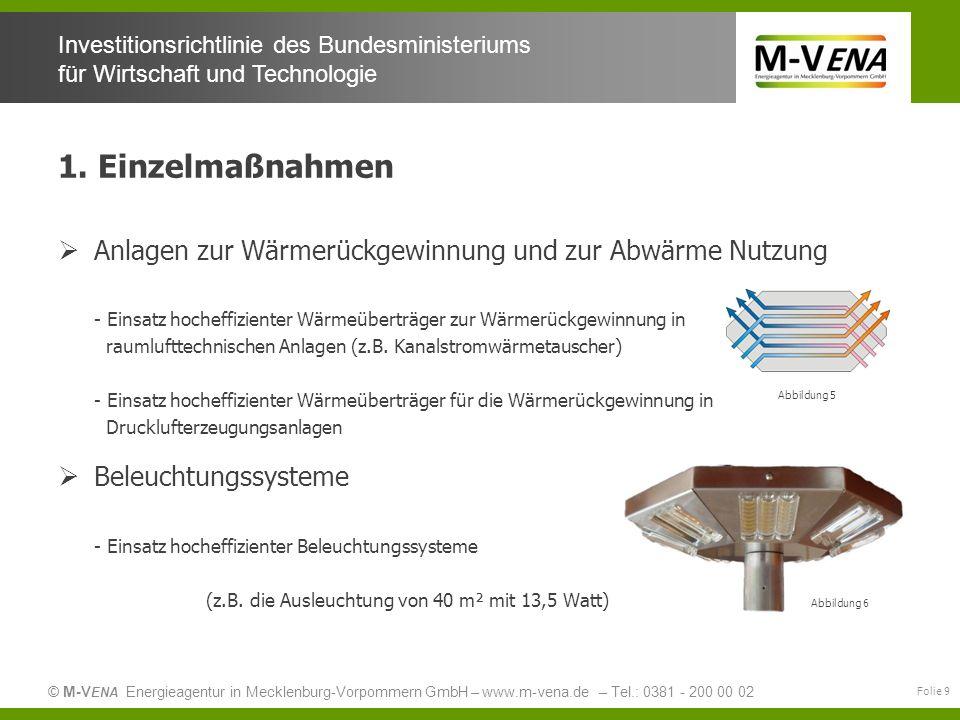 1. Einzelmaßnahmen Anlagen zur Wärmerückgewinnung und zur Abwärme Nutzung. - Einsatz hocheffizienter Wärmeüberträger zur Wärmerückgewinnung in.