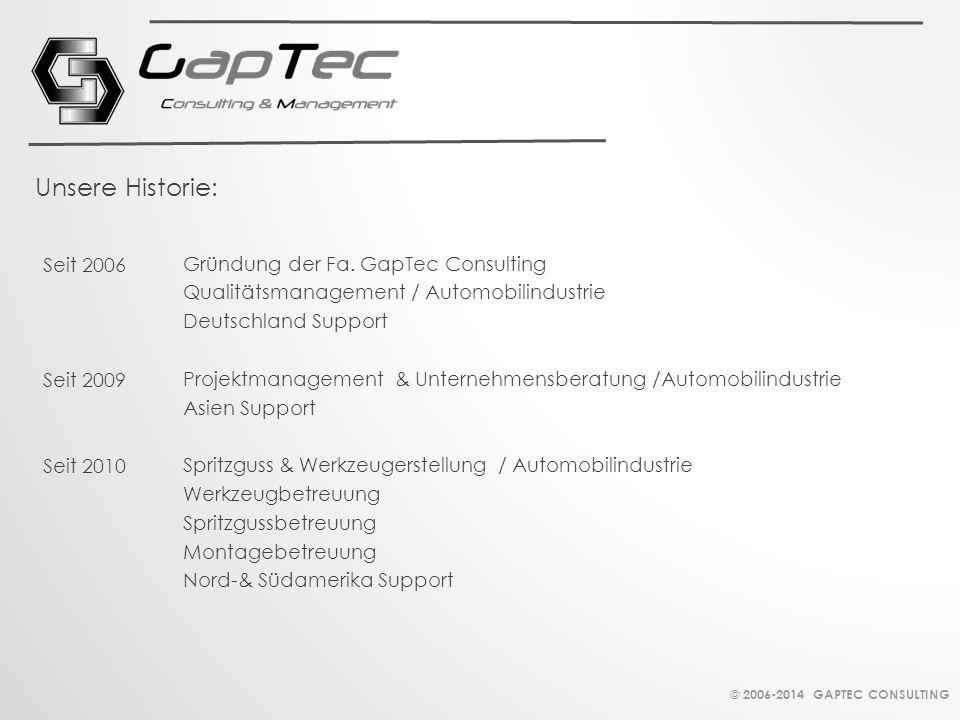 Unsere Historie: Seit 2006 Gründung der Fa. GapTec Consulting