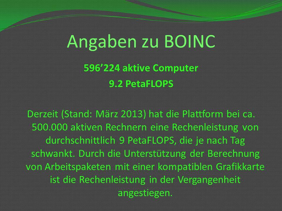 Angaben zu BOINC