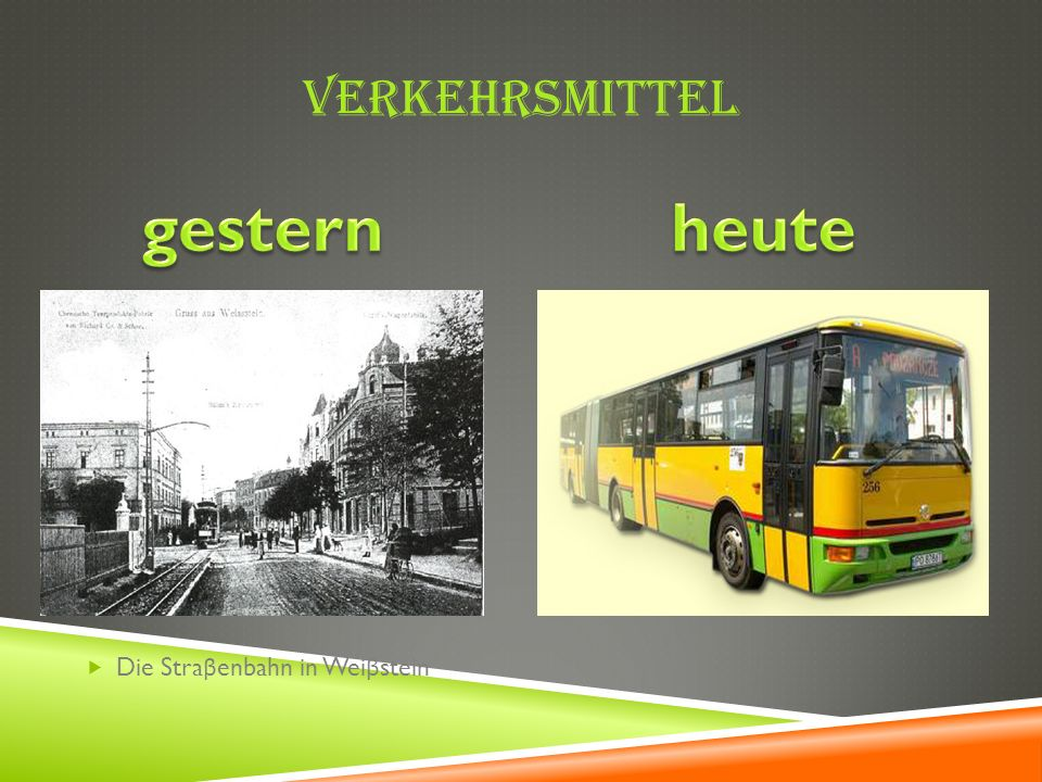 Verkehrsmittel gestern heute Die Straβenbahn in Weiβstein