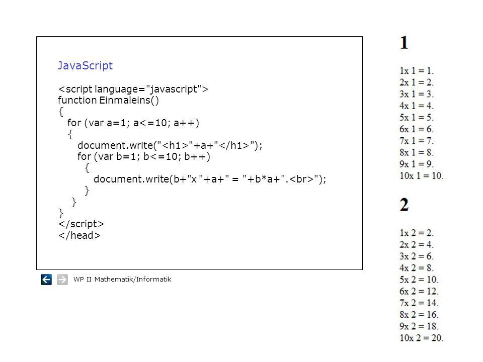 JavaScript <script language= javascript > function Einmaleins()