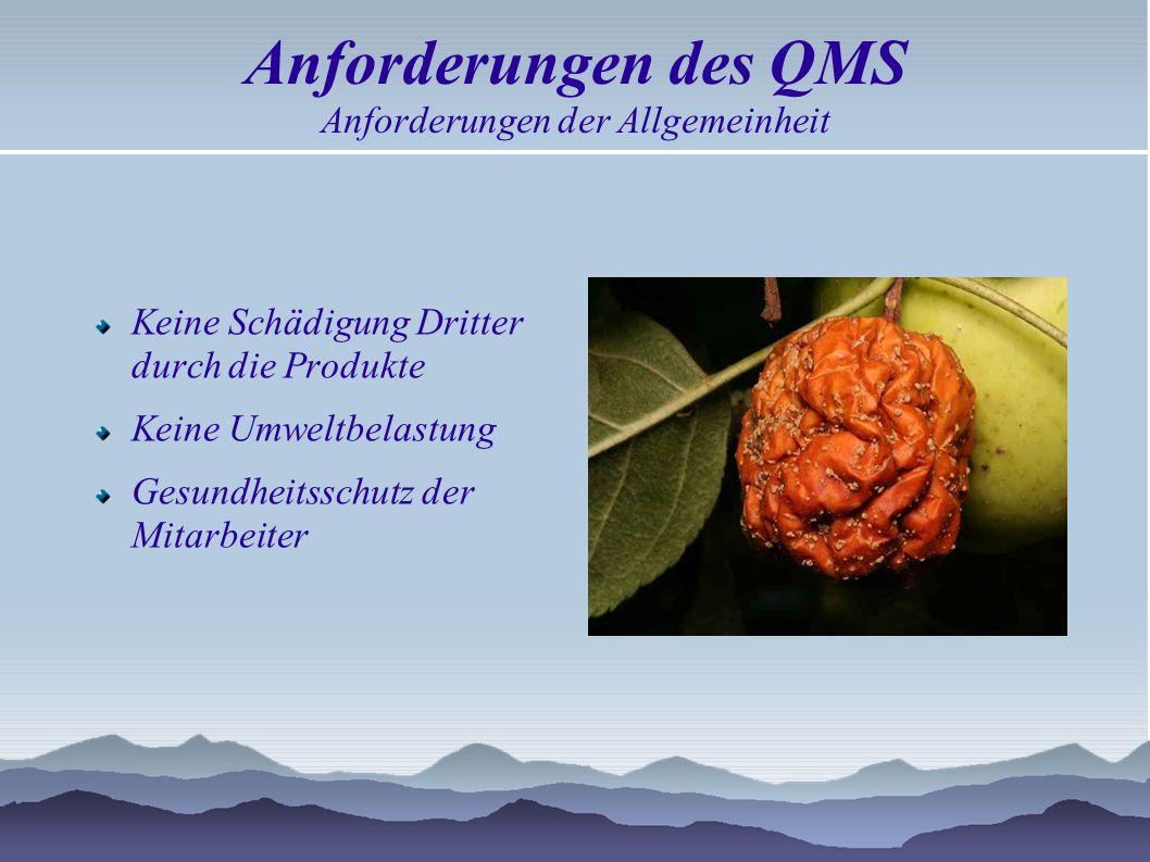 Anforderungen des QMS Anforderungen der Allgemeinheit
