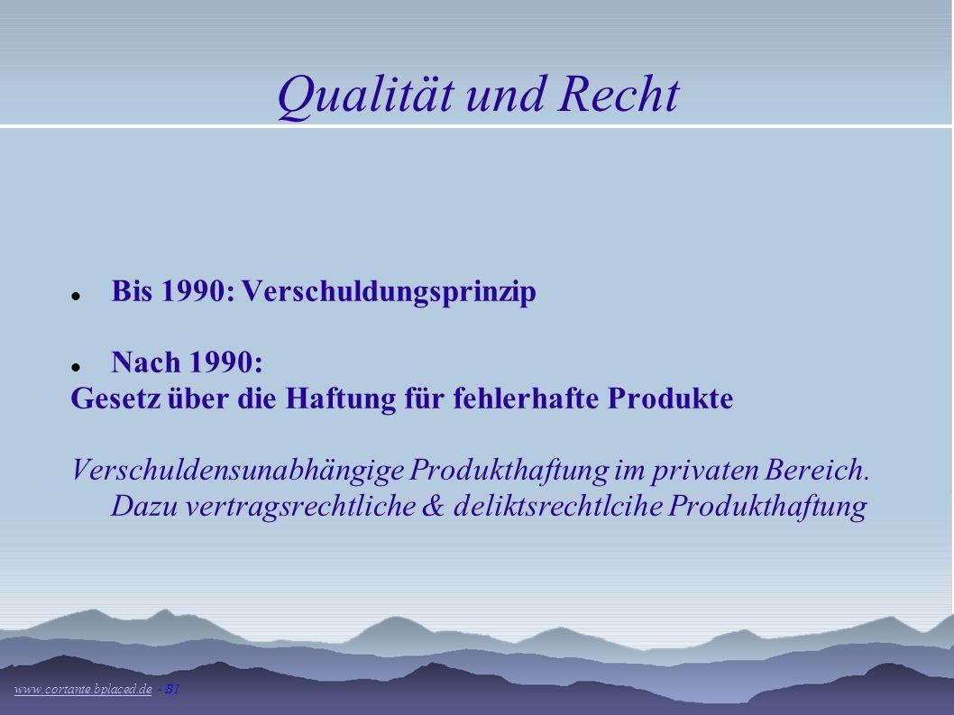 Qualität und Recht Bis 1990: Verschuldungsprinzip Nach 1990: