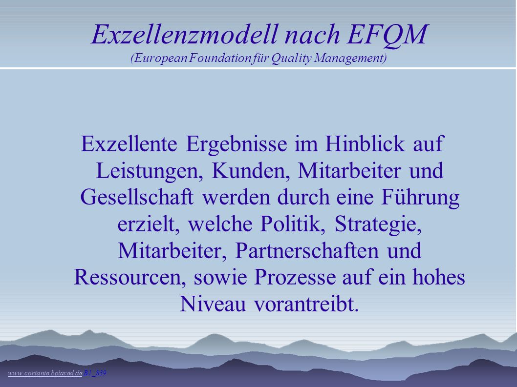 Exzellenzmodell nach EFQM (European Foundation für Quality Management)