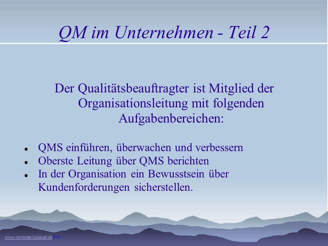 QM im Unternehmen - Teil 2