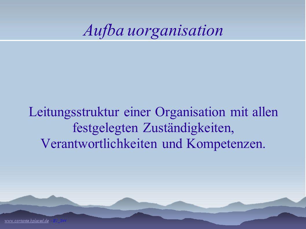 Aufba uorganisationLeitungsstruktur einer Organisation mit allen festgelegten Zuständigkeiten, Verantwortlichkeiten und Kompetenzen.