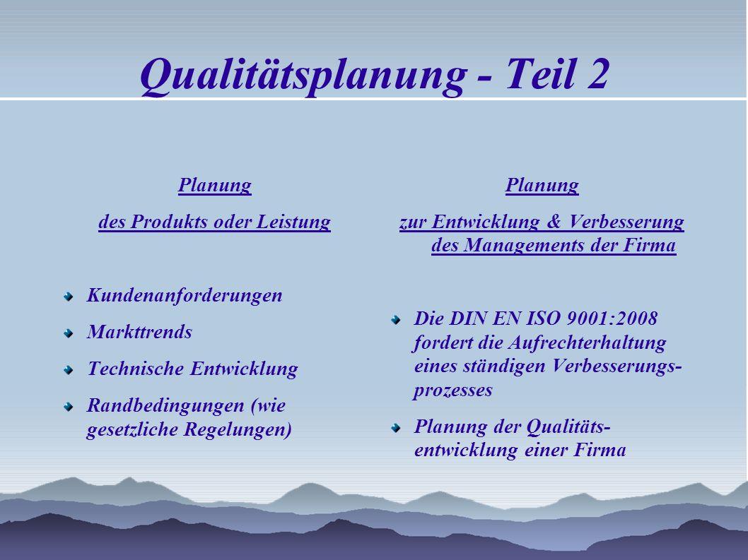 Qualitätsplanung - Teil 2