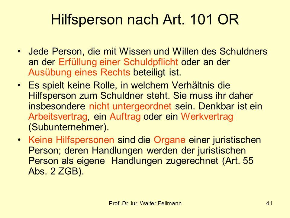Hilfsperson nach Art. 101 OR