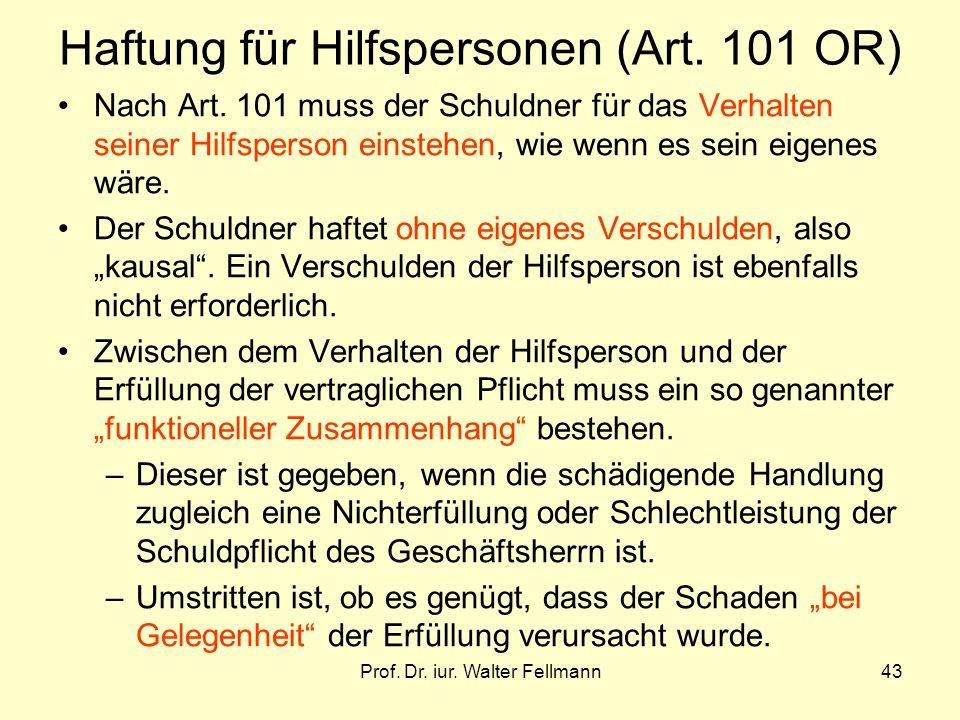 Haftung für Hilfspersonen (Art. 101 OR)