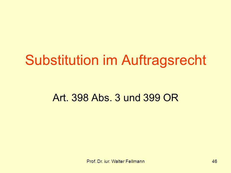 Substitution im Auftragsrecht