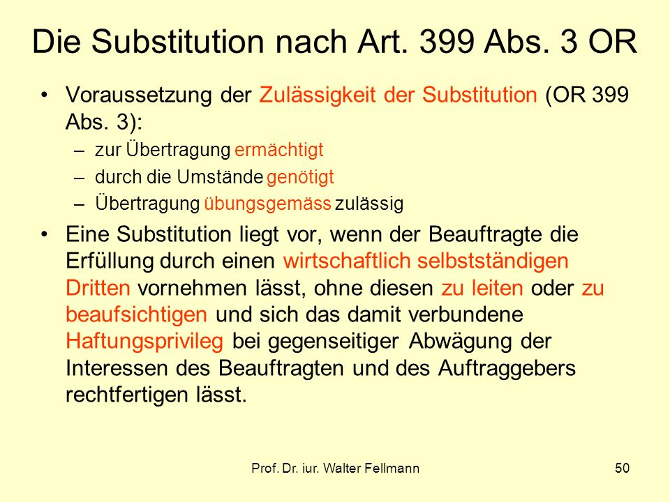Die Substitution nach Art. 399 Abs. 3 OR
