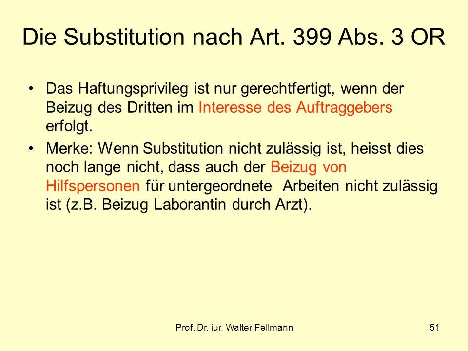Die Substitution nach Art. 399 Abs. 3 OR