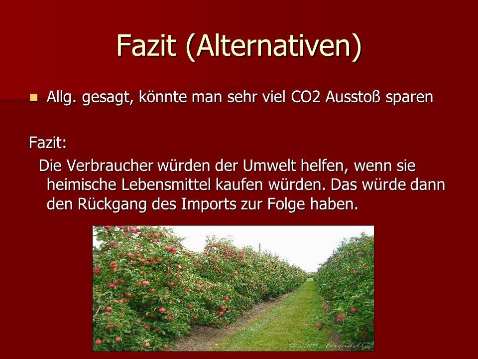 Fazit (Alternativen) Allg. gesagt, könnte man sehr viel CO2 Ausstoß sparen. Fazit: