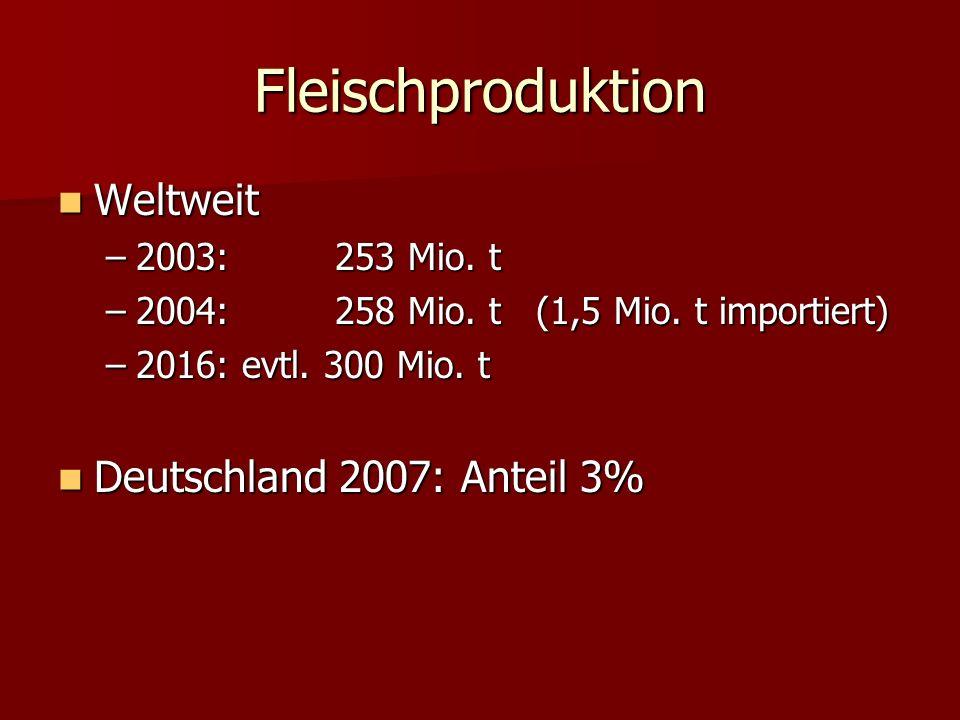 Fleischproduktion Weltweit Deutschland 2007: Anteil 3%