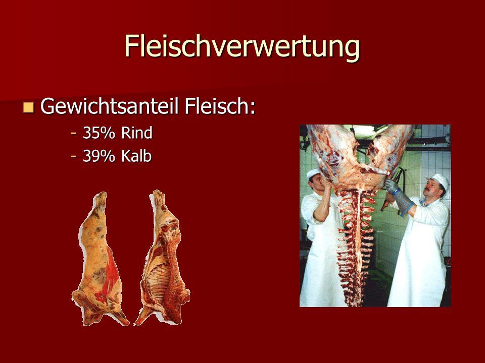 Fleischverwertung Gewichtsanteil Fleisch: 35% Rind 39% Kalb