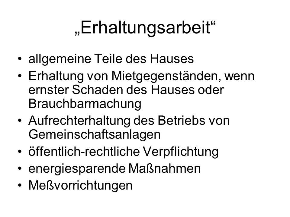 """""""Erhaltungsarbeit allgemeine Teile des Hauses"""