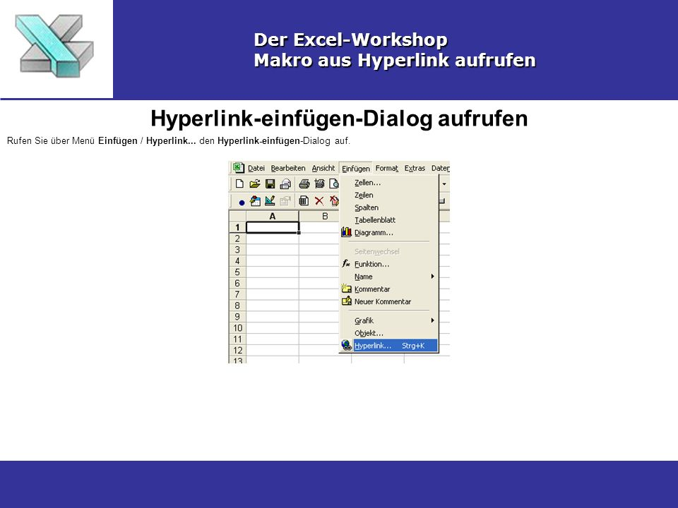 Hyperlink-einfügen-Dialog aufrufen