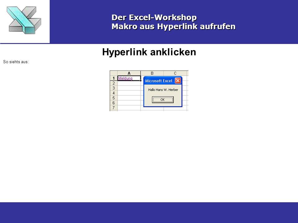 Hyperlink anklicken Der Excel-Workshop Makro aus Hyperlink aufrufen