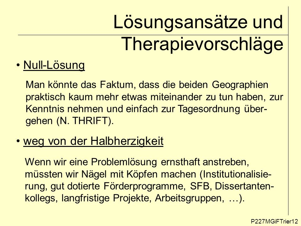 Lösungsansätze und Therapievorschläge