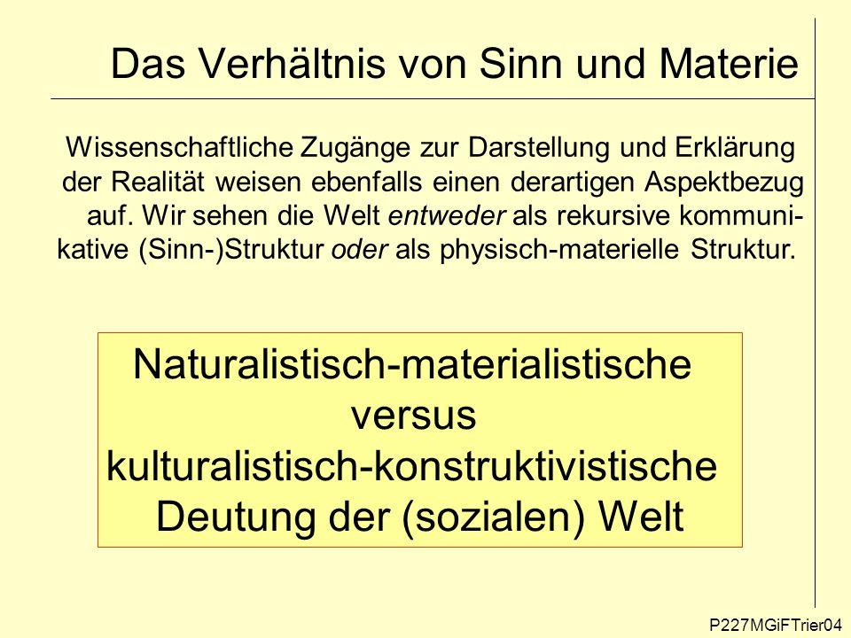 Das Verhältnis von Sinn und Materie