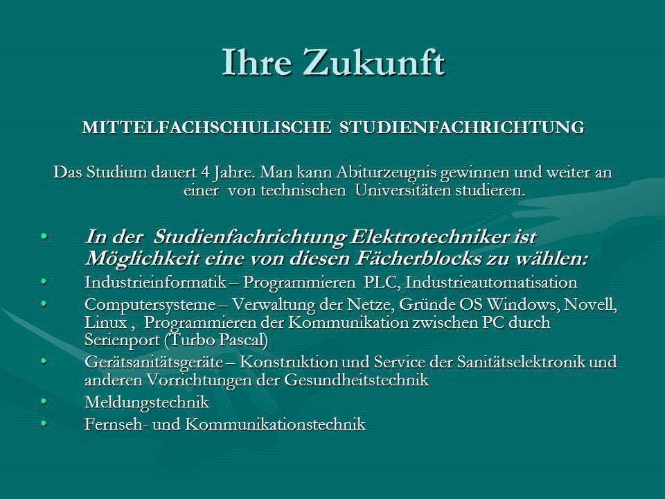 MITTELFACHSCHULISCHE STUDIENFACHRICHTUNG