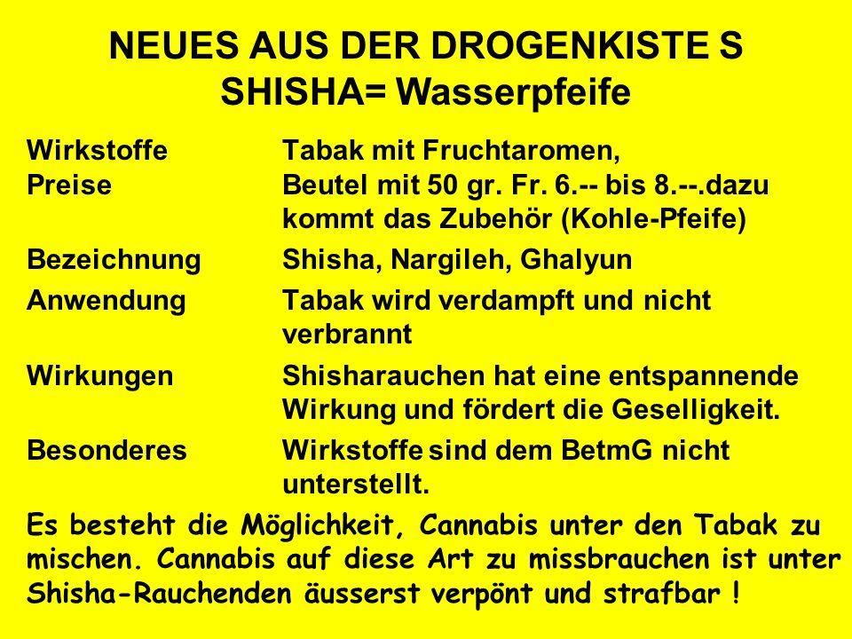 NEUES AUS DER DROGENKISTE S SHISHA= Wasserpfeife