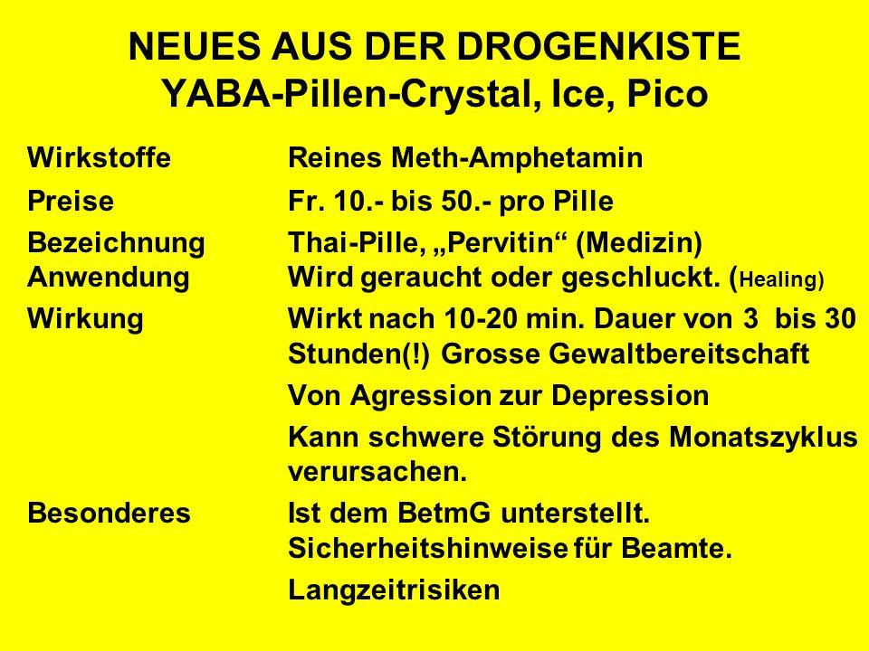 NEUES AUS DER DROGENKISTE YABA-Pillen-Crystal, Ice, Pico