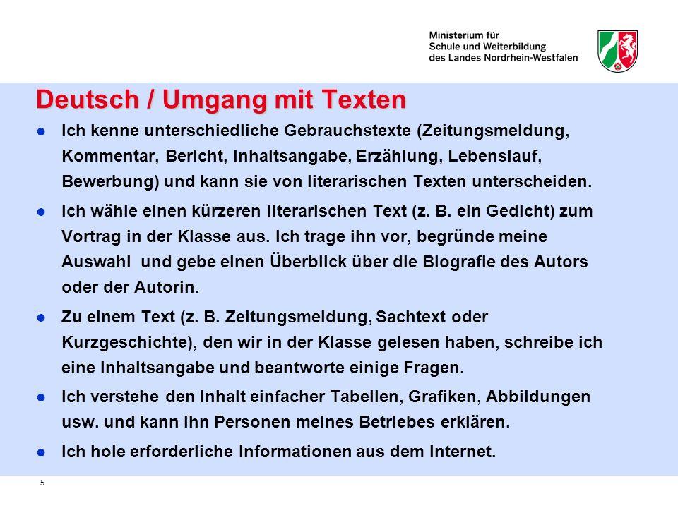 Deutsch / Umgang mit Texten
