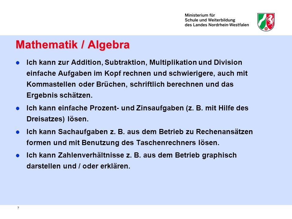 Mathematik / Algebra