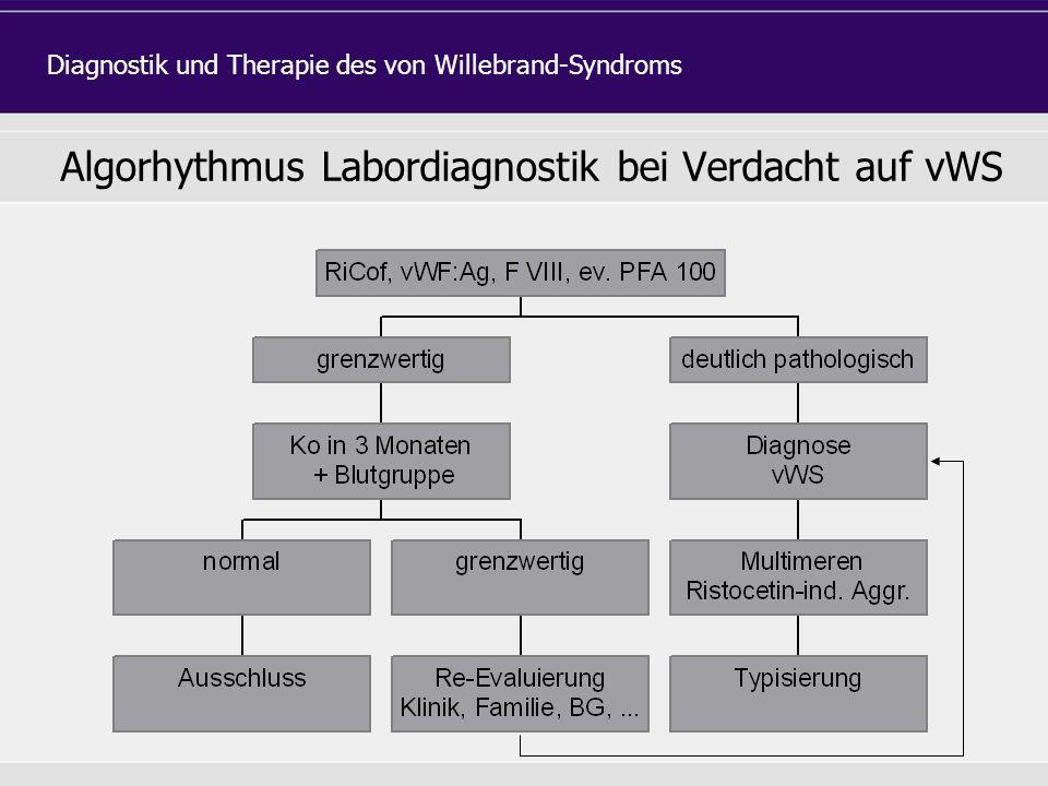 Algorhythmus Labordiagnostik bei Verdacht auf vWS